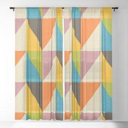 Retro Color Block Chevron Color Fun Sheer Curtain