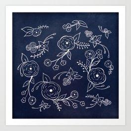 Chalk Florals Art Print