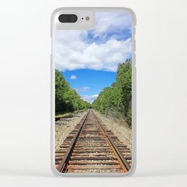 Beautiful Day Train Tracks Clear iPhone Case