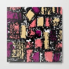 Mid-century Pattern #108 (pink purple cream) Metal Print