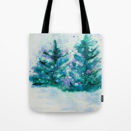 Holidaze Winter Trees w SnowFlakes watercolor by CheyAnne Sexton Tote Bag