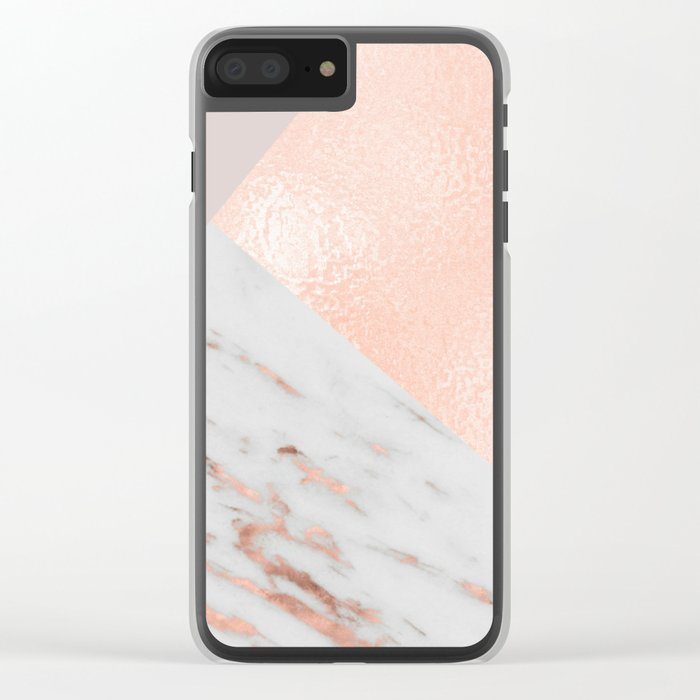 Blush pink layers of rose gold and marble Clear iPhone Case