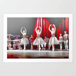 Three Ballerinas in Grey Art Print