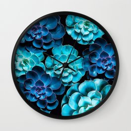 Succulent Plants In Blue And Turquoise Color #decor #society6 #homedecor Wall Clock
