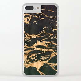24-Karat Gold Veins on Black Suede Marbled Pattern Clear iPhone Case