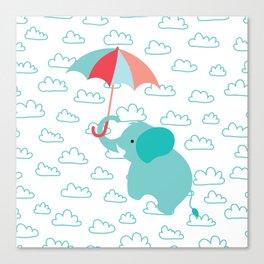 Elephant with umbrella , nursery decor , Canvas Print