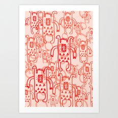 Monsters red kids nursery decor Art Print