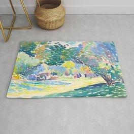 Watercolor Landscape by Henri-Edmond Cross 1904 Neo-Impressionism Pointillism Watercolor Rug