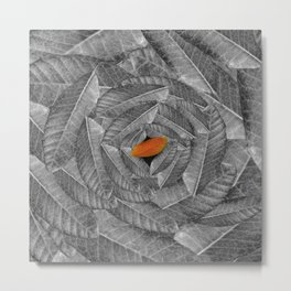 Orange Leaf On Grey And Silver Leaves - Beautiful Background - Autumn mood - #Society6 #buyart Metal Print