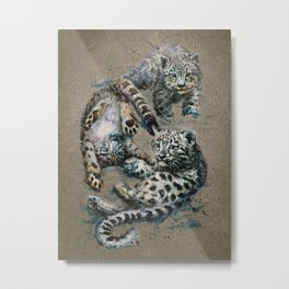 Snow leopard 2 background Metal Print