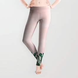 Turquoise Banana and palm Leaves Leggings