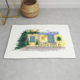Bar Cafe Caffe in Trastevere in Rome hand-painted watercolor sketch Rug