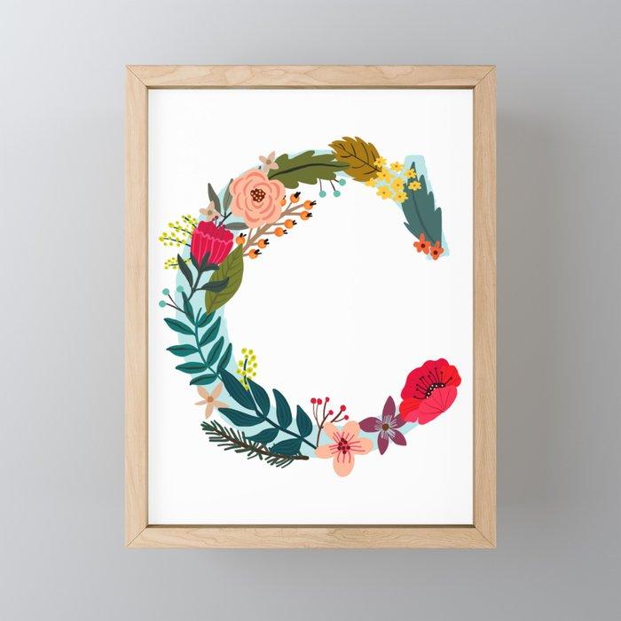 C Monogram Letter, Abecedary, Capital letter Framed Mini Art Print