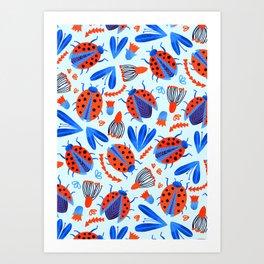 Classic Ladybug Botanical  Art Print