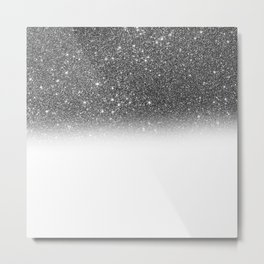 White & Silver Glitter Gradient Metal Print