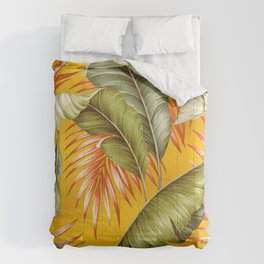 HAWAIIAN GARDEN TROPICAL LEAVES | golden yellow orange Comforters
