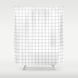 The Minimalist: White Grid Shower Curtain