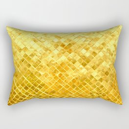 Give me Gold: festive, golden, fashionable, 3-d, glittery, Christmas, cheerful, lattice design Rectangular Pillow