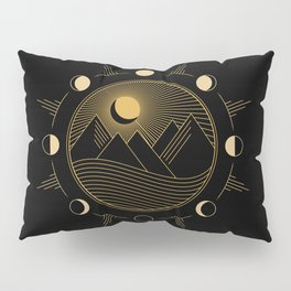 Lunar Phases With Mountains Pillow Sham