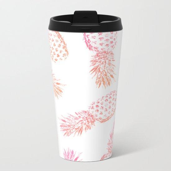 Pink Pineapples Metal Travel Mug