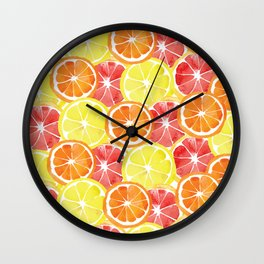 Grapefruit Lemon Orange Pattern Wall Clock