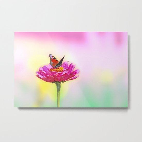 Butterfly landing on pink flower Metal Print