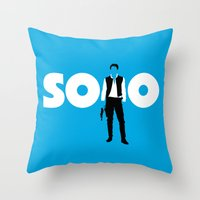 han solo Throw Pillows featuring Han Solo by Vector Vectoria