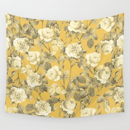 Summer Vintage Roses in Golden Mustard Yellow, Retro Rose Garden, Floral French Country Pattern Wall Tapestry