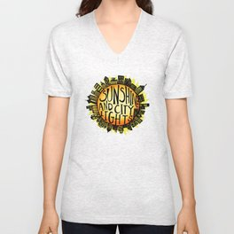 Sunshine and City Lights Unisex V-Neck