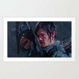 Daryl Dixon Night Watch - The Walking Dead Art Print
