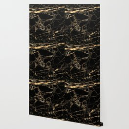 Marble, Black + Gold Veins Wallpaper