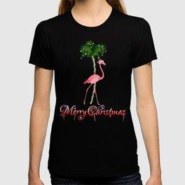 Merry Christmas Pink Flamingo Beach Xmas T-shirt