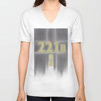 221b V-neck T-shirts featuring Sherlock, 221b Baker Street  by anthony m sennett