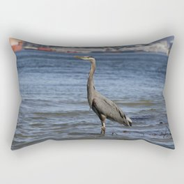 great blue heron in water in vancouver Rectangular Pillow