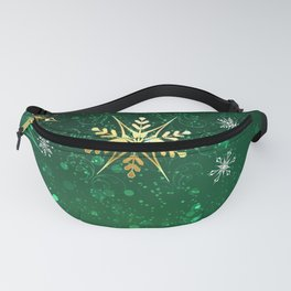 Gold Snowflakes on a Green Background Fanny Pack