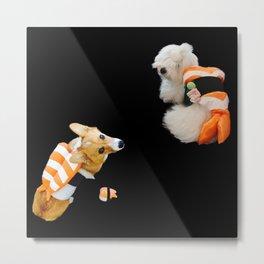 Sushi Dogs - Ebi sushi puppies corgi Coton de Tulear Metal Print