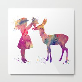 Girl and Doe Art Colorful Purple Watercolor Art Gift Animals Lover Gift Kids Room Decor Metal Print