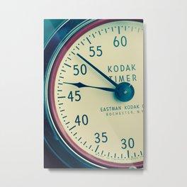Keeping Time With Kodak #Vintage Camera #Vintage Clock Metal Print