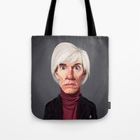 celebrity Tote Bags featuring Celebrity Sunday ~ Andy Warhola by rob art   illustration