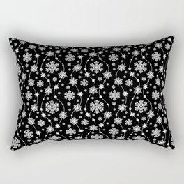 Festive Black and White Snowflake Pattern Rectangular Pillow