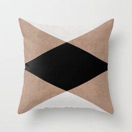 natural, cream and black triangles Throw Pillow