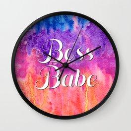Boss Babe Girl Power Rainbow Watercolor Wall Clock