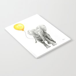 Elephant Watercolor Yellow Balloon Whimsical Baby Animals Notebook