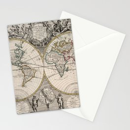 Vintage Map of The World (1721) Stationery Cards