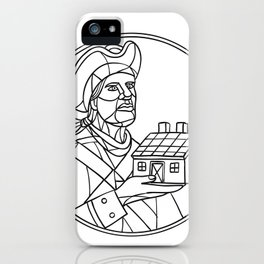American Patriot House Mosaic Black and White iPhone Case