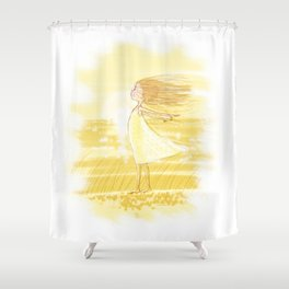 Little Girl In The Wind - Artwork that re-visits your favorite childhood memories Shower Curtain