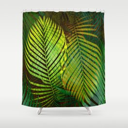 TROPICAL GREENERY LEAVES Shower Curtain