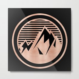 THE MOUNTAIN Rose Gold Metal Print