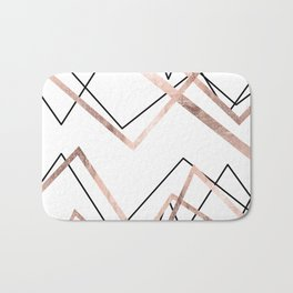 Rose Gold White Linear Triangle Abstract Pattern Bath Mat