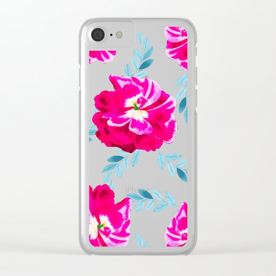 Fluorescent Florals #society6 #decor #buyart Clear iPhone Case